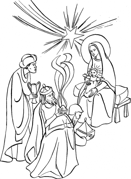 epiphany coloring pages Feast of the Epiphany Coloring Page. Adoration of the Magi to  epiphany coloring pages