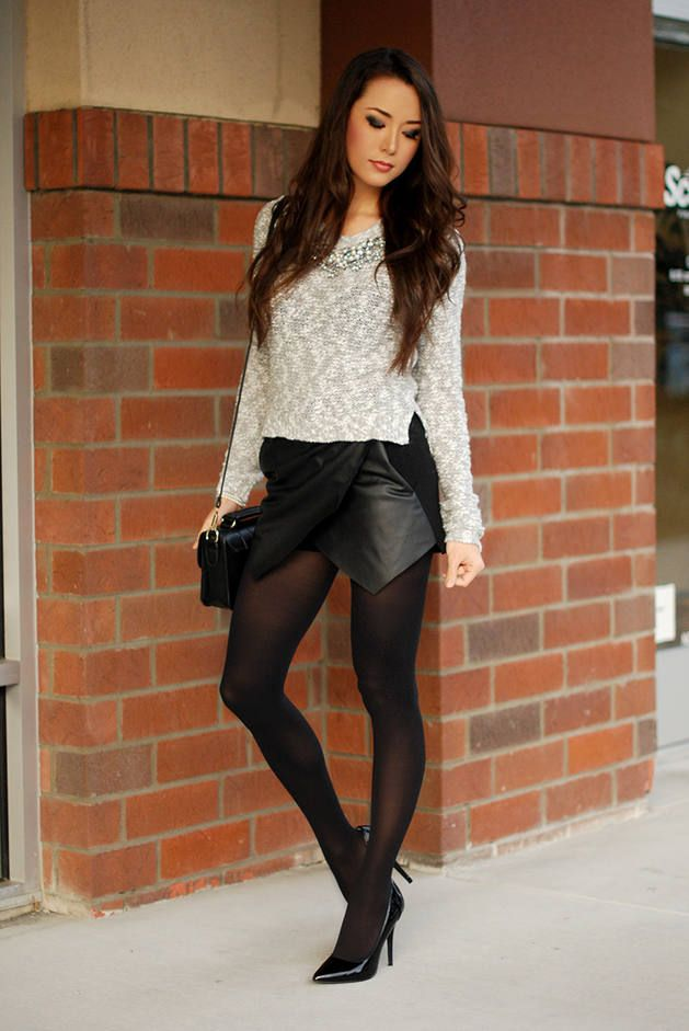 3e5dadb29ce Silent Stars Go By  Grey Cropped sweater  Silver Necklace  Black and White   Black Asymetric Skirt  Black Tights  Black Shoulder BAg  Black Heels