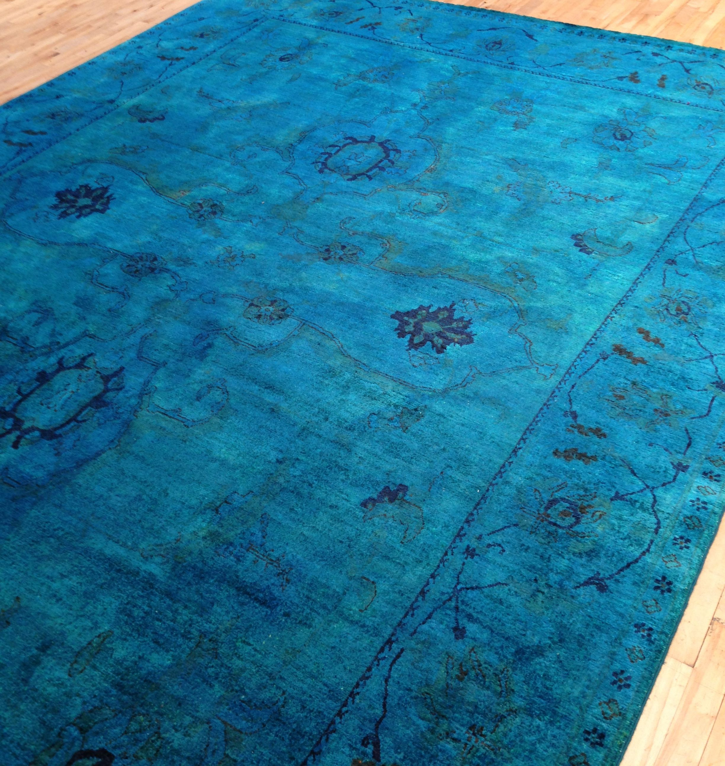 Jewel Tone Blue Over Dyed Rug