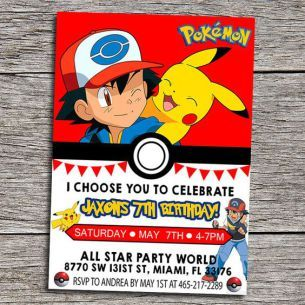 graphic relating to Free Printable Pokemon Invitations titled Printable Pokemon Birthday Invitation Totally free Anakins b working day