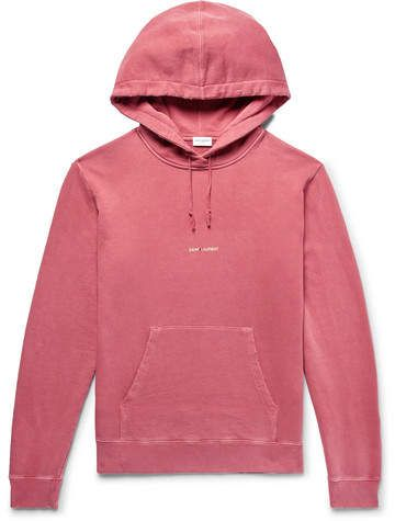 ffa40ae432a Saint Laurent Logo-Print Distressed Loopback Cotton-Jersey Hoodie ...