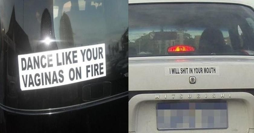 Inappropriate bumper stickers thatll ward off tailgaters