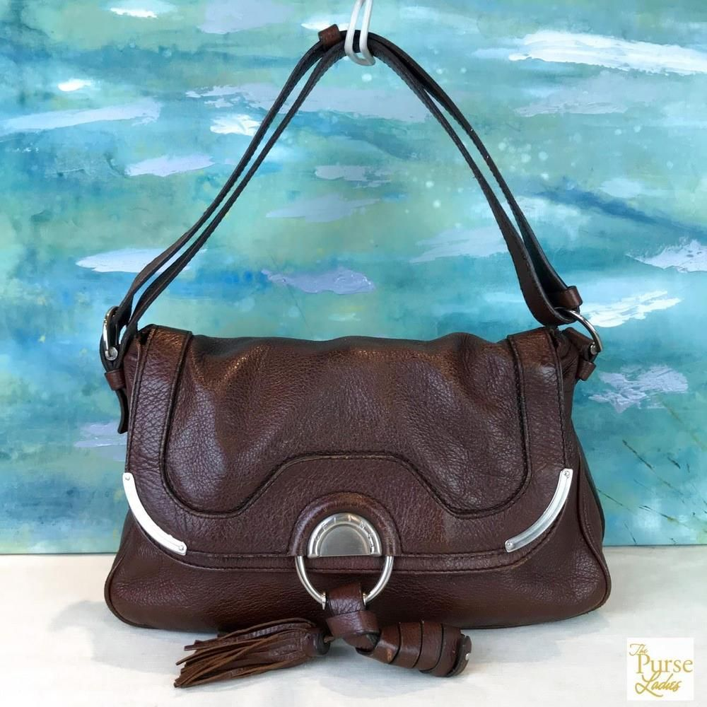 25e28f14cfb4  1050 CELINE Brown Leather Satchel Shoulder Bag Tassel Flap Silver HW SALE!