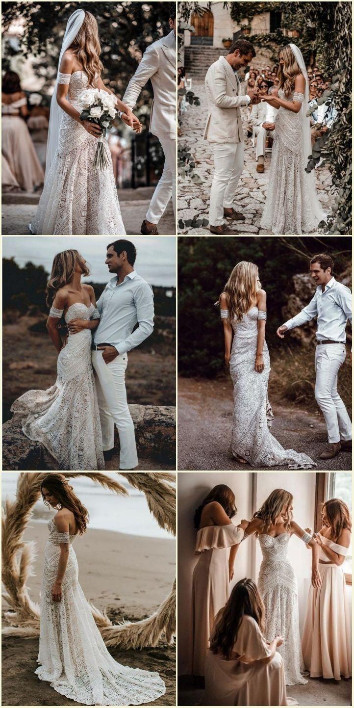 Mermaid sweetheart sweep train lace beach wedding dress fashion