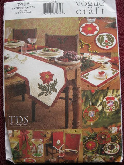 Vogue sewing pattern 7465 christmas home accessories uncut Listing in the Home,Sewing,Patterns,Sewing,Crafts, Handmade & Sewing Category on eBid United Kingdom