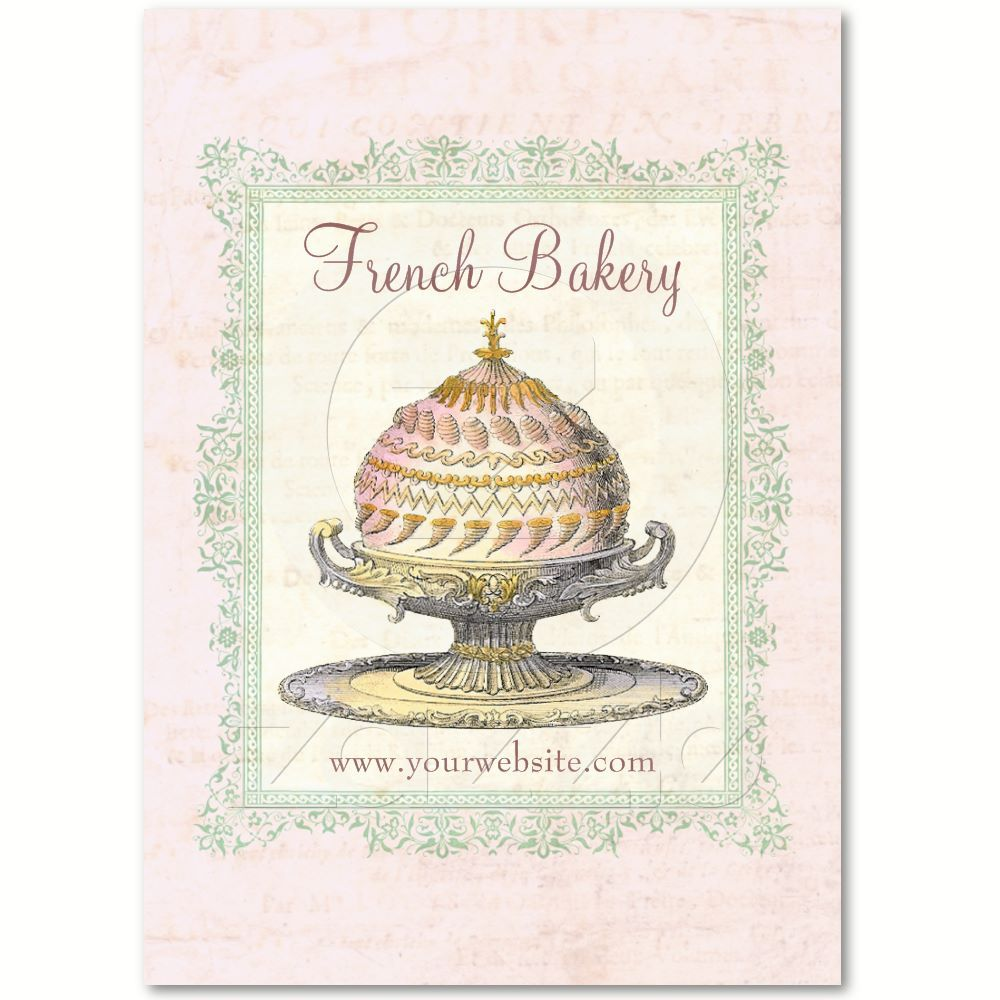 Old Fashioned French Bakery Business Cards from a Vintage Cook Book ...
