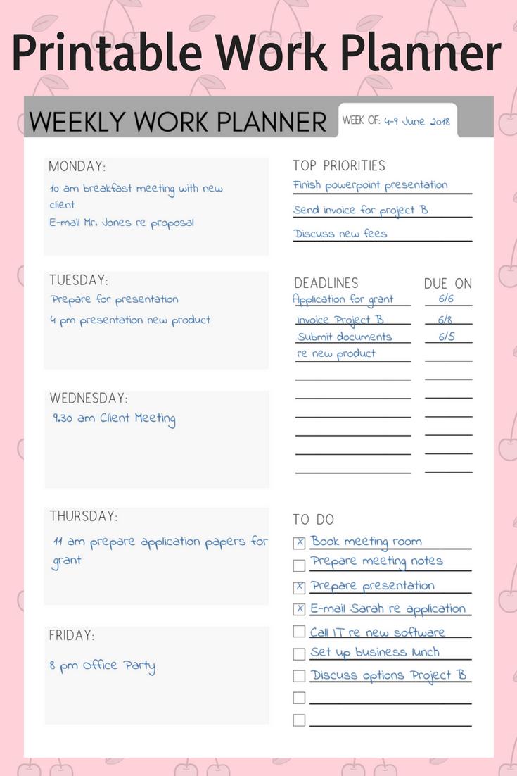 Weekly Work Planner Weekly Planner Work Organizer Work Calendar Printable Planner In 2020 Work Planner Weekly Work Planner Work Organization