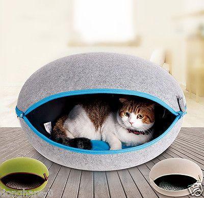 Nature Egg Shape Pet Dog Cat House Puppy Bed Kennel Potable Pet Supplies W/Pad
