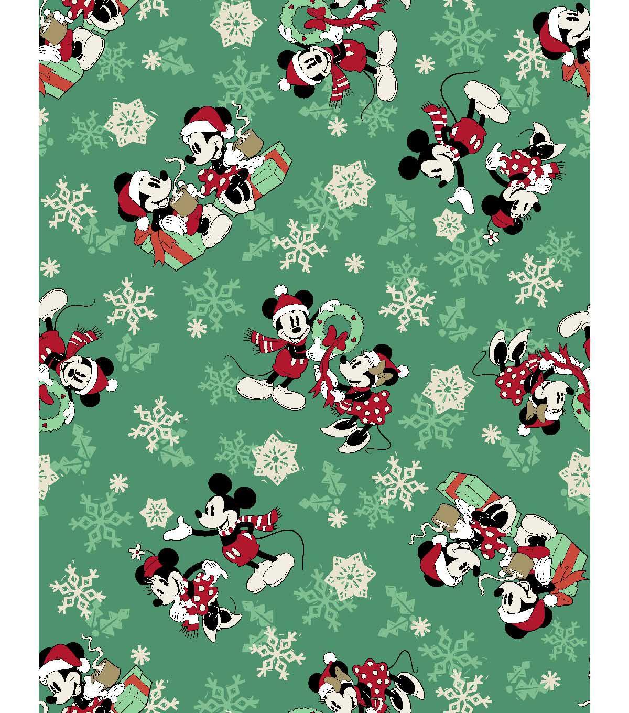 disney cotton print fabric 43 snowflakes mickey minnie mousenull - Disney Christmas Fabric