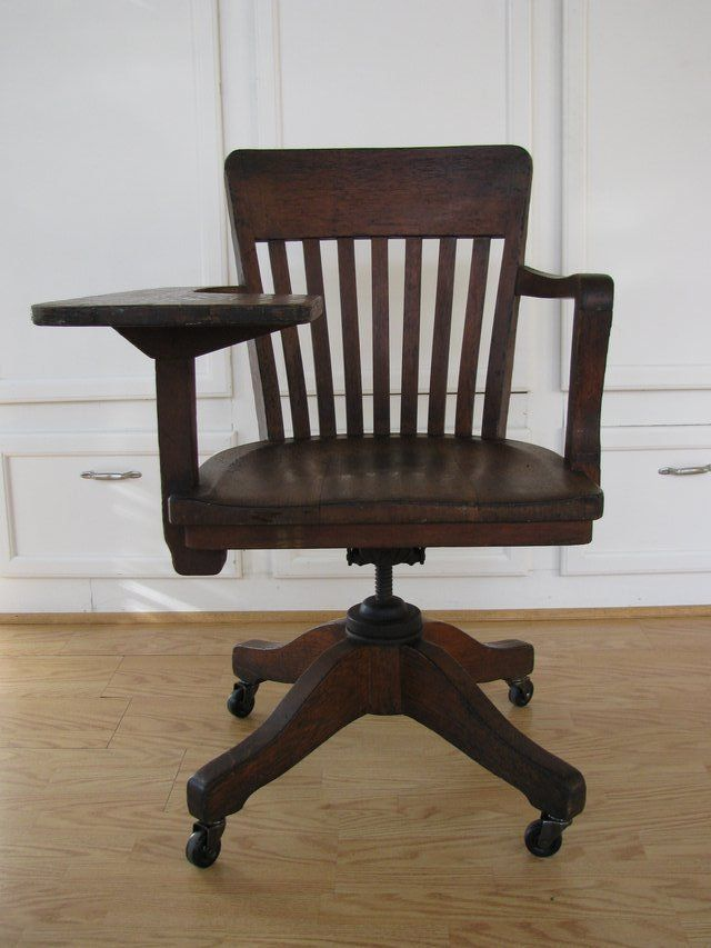 Vintage 1940 S Gunlocke Rolling Office Chair With Attached Desk Special Edition Br I