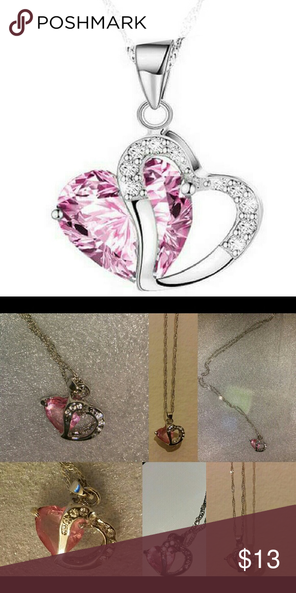 Geometric Crystal Pink Heart Pendant Silver Chain Beautiful brand new with tags Geometric Pink Crystal Heart Pendant Statement Necklace 18in 925 Sterling Silver Chain White gold filled to prevent fade n oxidation 100% High Quality  What u see is what u get Next day shipping Bundle n save I'm raising money for a family member in need, every like, share n purchase is greatly appreciated Jewelry Necklaces