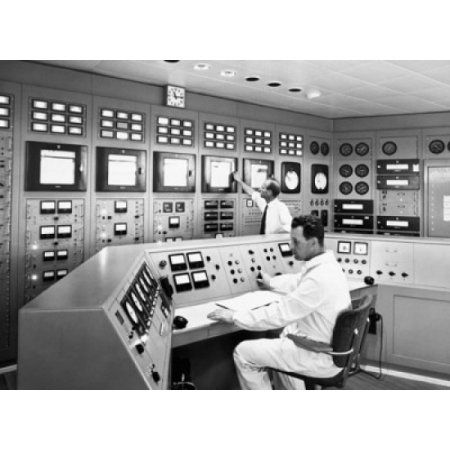 Scientists working in a control room of a laboratory Stockholm Sweden Canvas Art - (18 x 24)