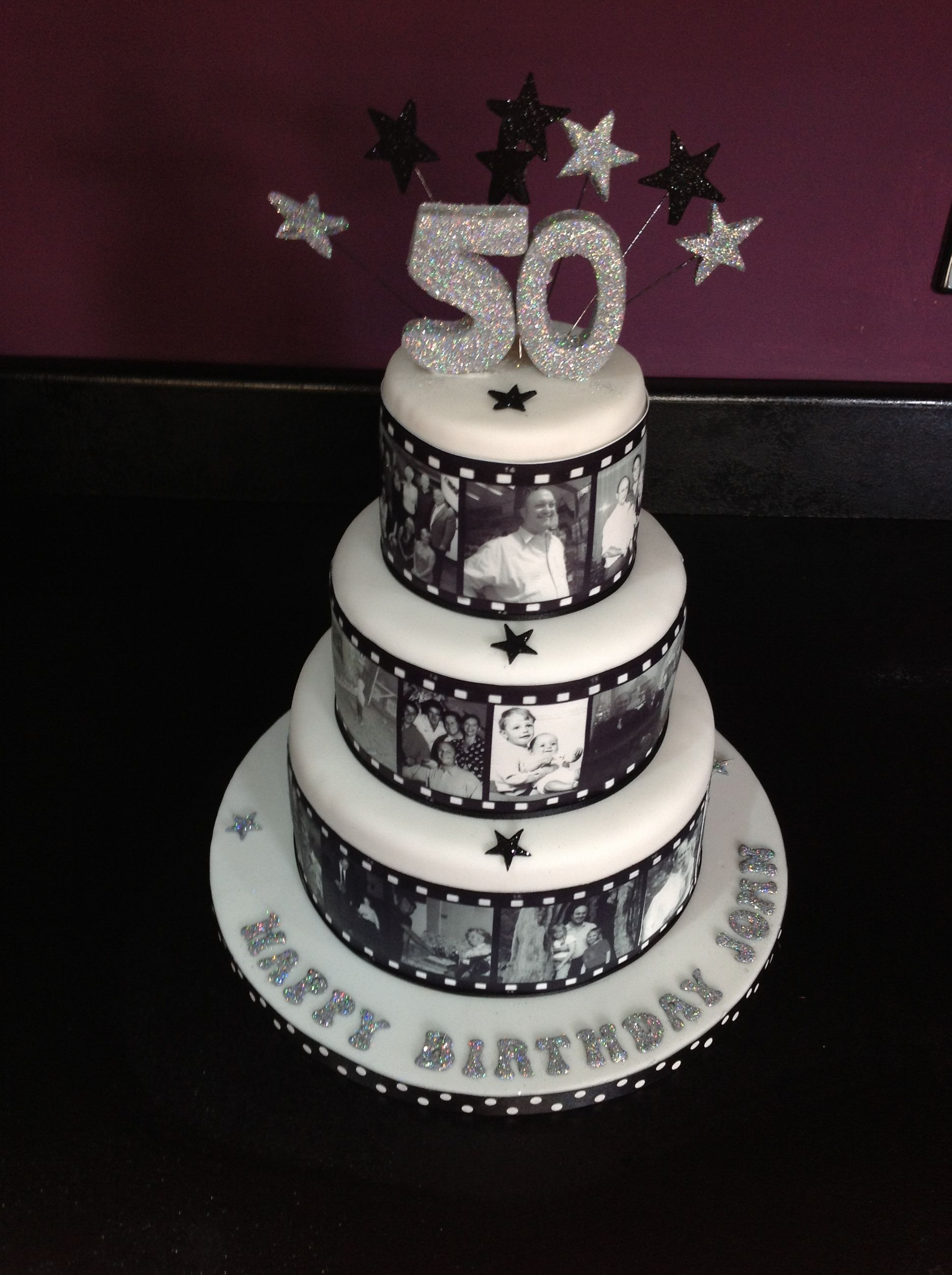 Film reel cake with edible images, 50th birthday cake by