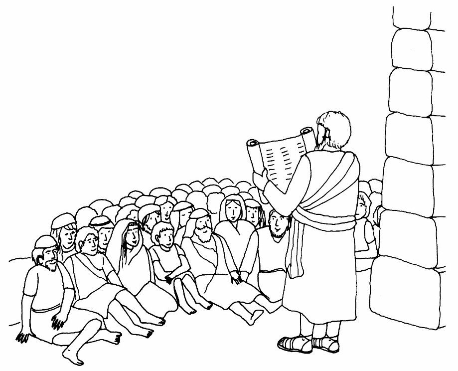 nehemiah bible study for kids coloring pages | Nehemiah Rebuilds the Wall - Coloring Page - SundaySchoolist