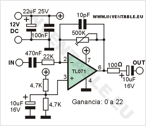 Pin Circuits Schematic Mono Audio Mixer Amplifier On