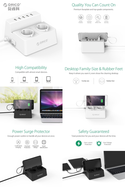 Visit to Buy] ORICO ODC Office Home 2 AC EU Plug Power Strip with 5 ...