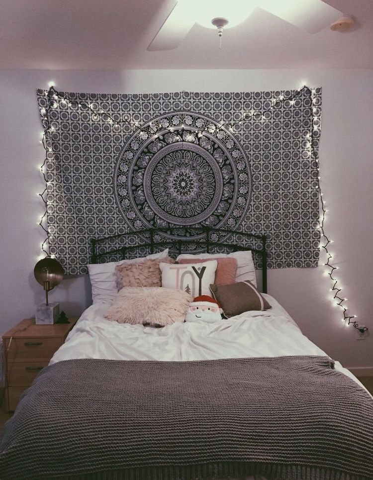 Indian Black White Tapestry In 2020 Bohemian Bedroom Decor