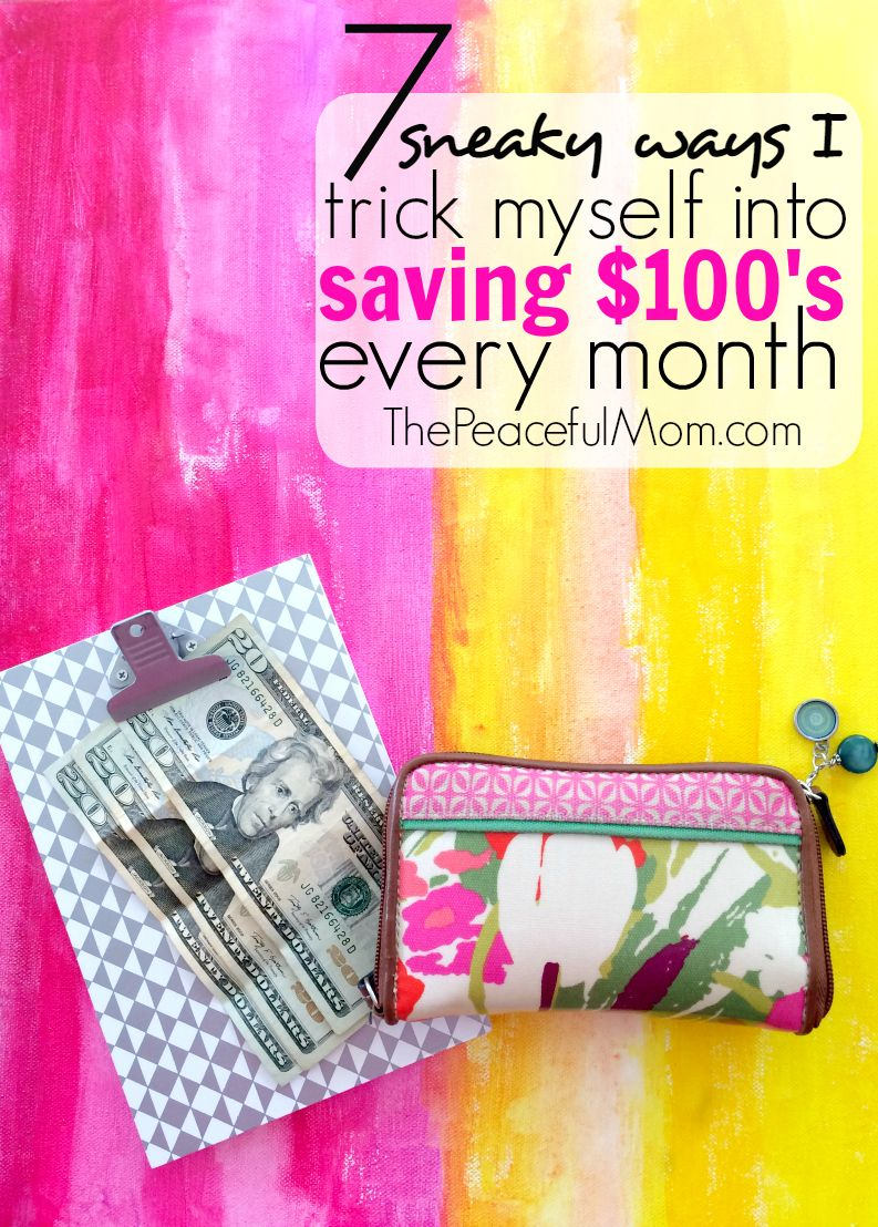 You want to save money, but somehow it just never happens. Check out these 7 sneaky ways to save more money that help me to save $100's every single month! -- from ThePeacefulMom.com