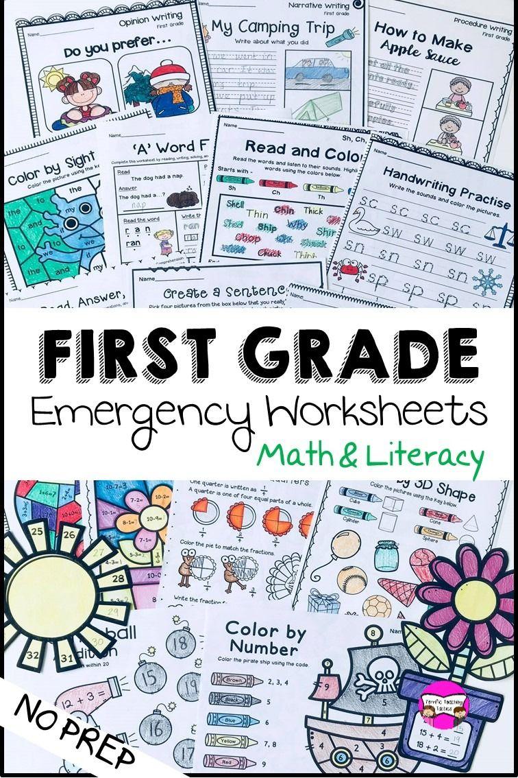 Photo of First Grade Emergency Homework Printables