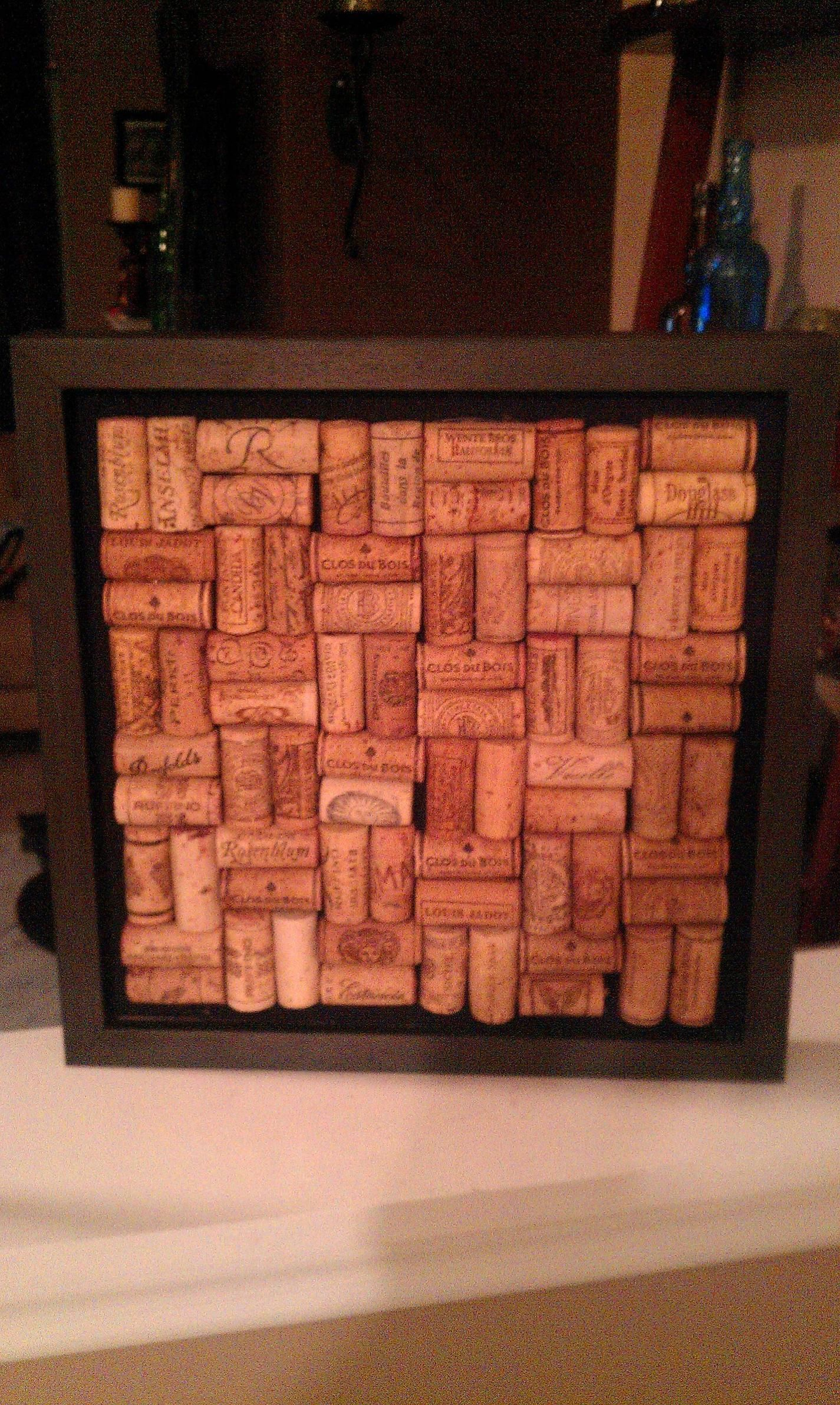 Wine Cork Board Very Easy Using A Shadow Box Crafts From Recycled Materials Fun Decor Cork Crafts