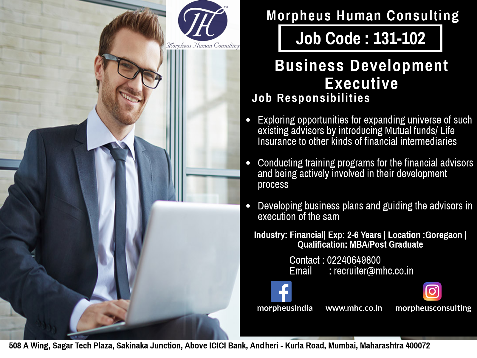 We Are Looking For A Business Development Executive In Mumbai For