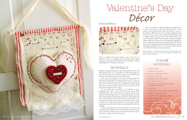 Valentines day hanger   Stampington & Company - Somerset Holidays & Celebrations Vol. 3