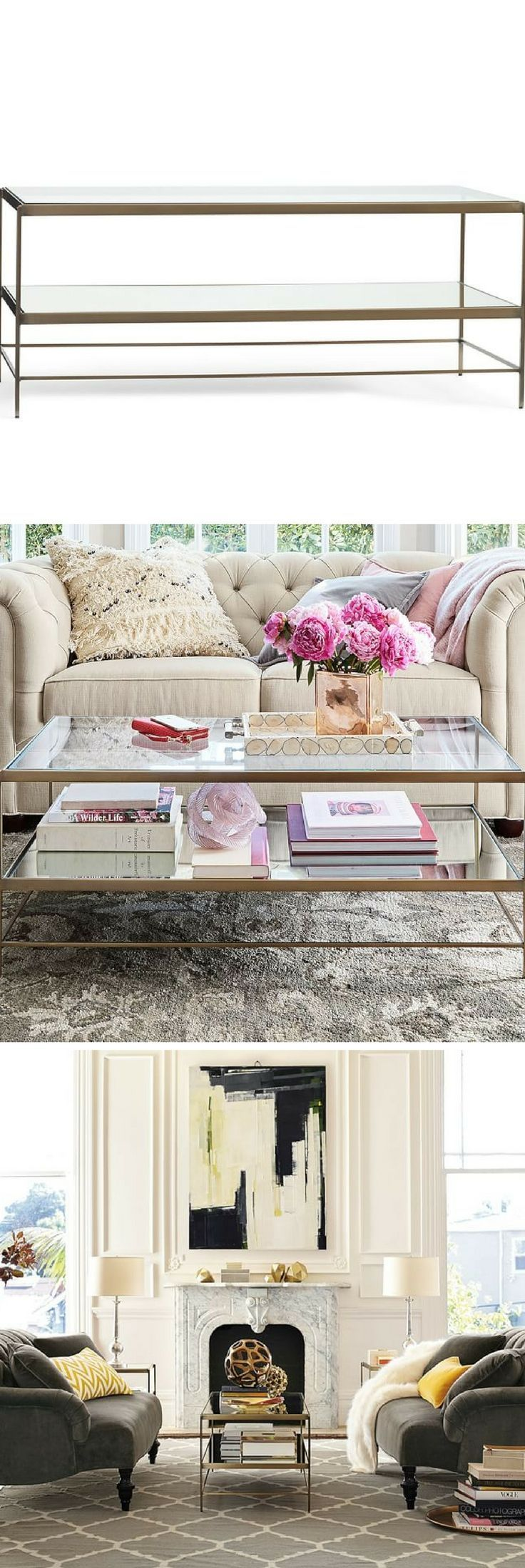 Leona Coffee Table Glass Mirror Brass Traditional Living - Pottery barn leona coffee table