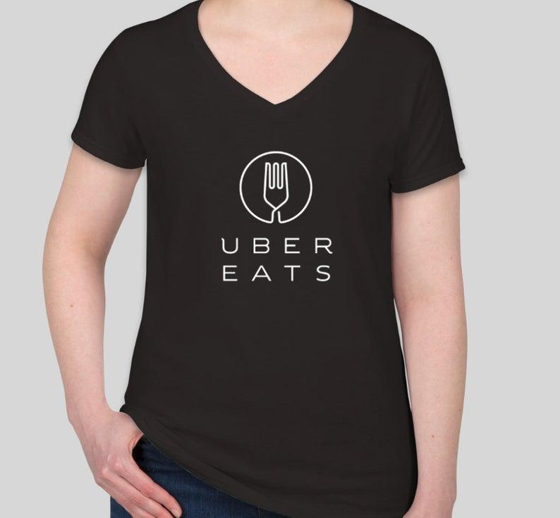 Uber eats Womens Vneck Gilidan TShirt Etsy Womens