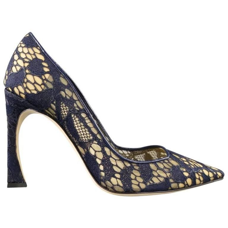 74c7d118e7 CHRISTIAN DIOR Raf Simons Size 8.5 Navy Lace Pointed Toe Songe Curved Heel  Pumps | From
