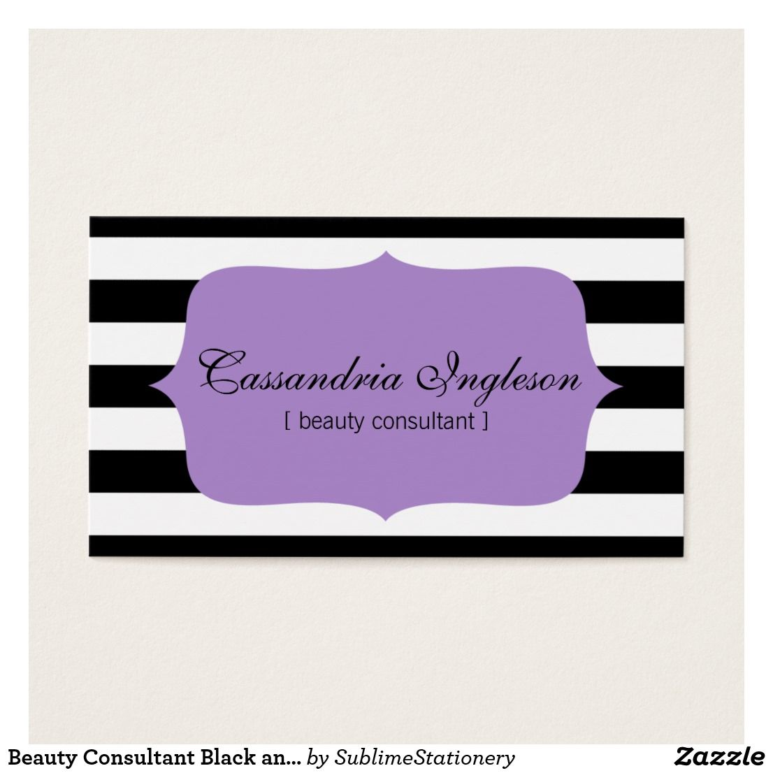 Beauty Consultant Black and White Stripes Purple Business Card ...