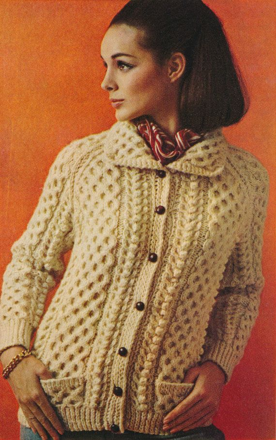 Womens Classic Nordic Aran Cable Design Sweater Cardigan Knitting