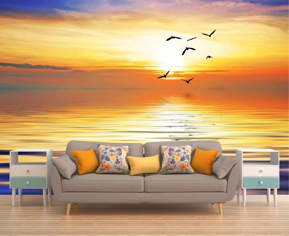 Tropical Wallpaper, Sunrise Wall Mural, Ocean Wall
