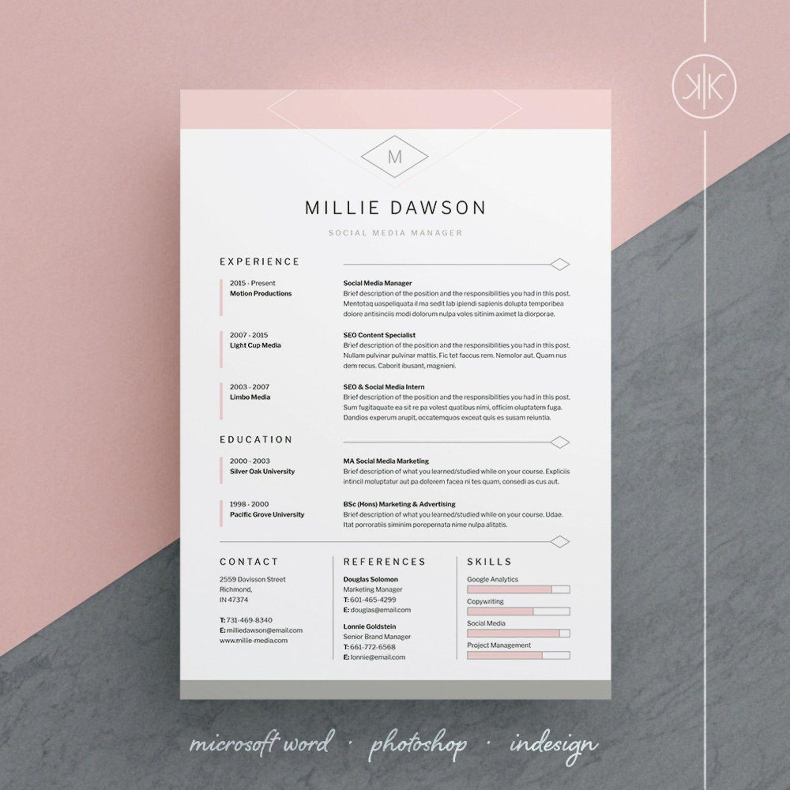 Millie Resume Cv Template Word Photoshop Indesign Etsy Cv Template Word Indesign Resume Template Resume Design Professional
