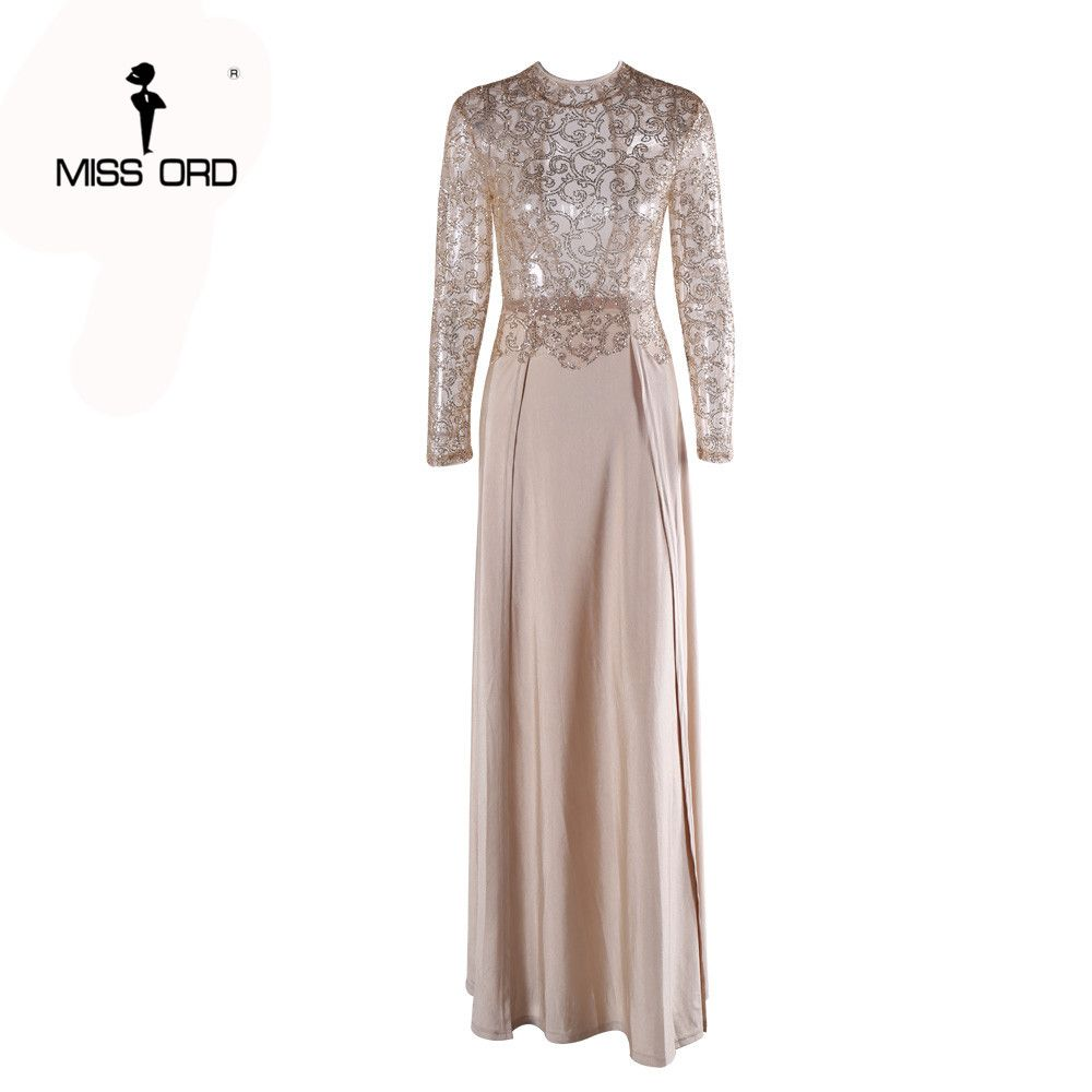 9cb6f6f5 Free Shipping Missord Fashion Flash sexy high-necked long-sleeved sequin  split dress FT5171-1 Do you want it Get it here