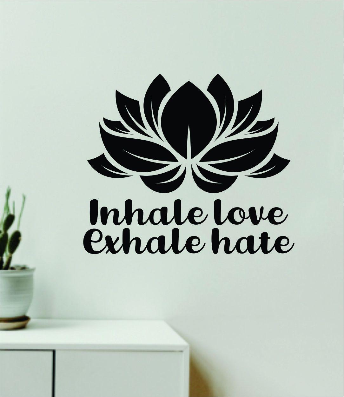 Lotus Flower Inhale Love Exhale Hate Quote Wall Decal Sticker Vinyl Art Decor Bedroom Boy Girl Baby Teen Namaste Yoga Meditate Zen Buddha - red