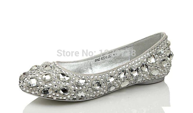 Womenu0027s Silver Shoes Size 11 | ... Wedding Shoes Rhinestone Women Flat  Sapatos Femininos