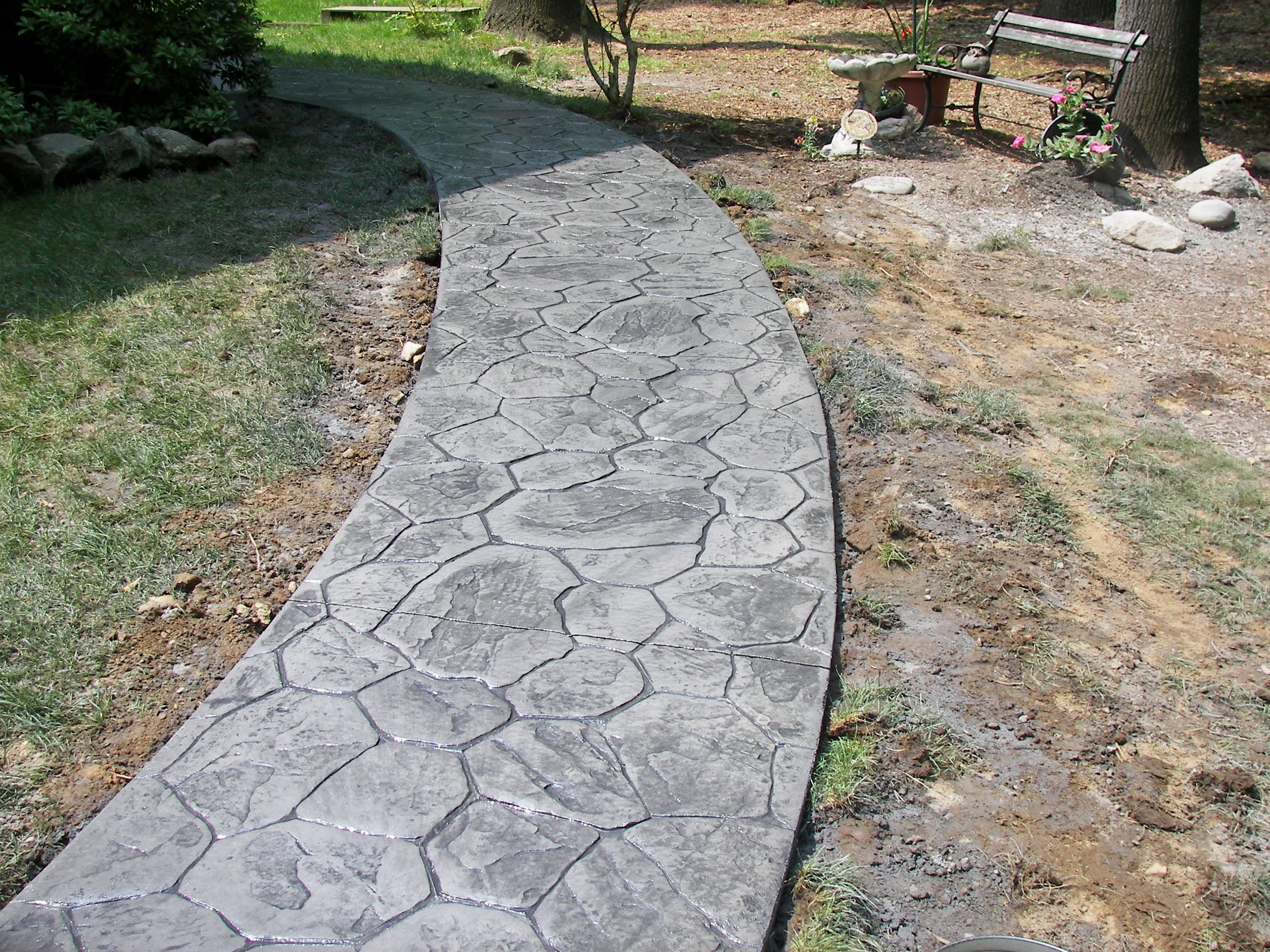 Slate Stone Julie : Stamped concrete walkways random stone