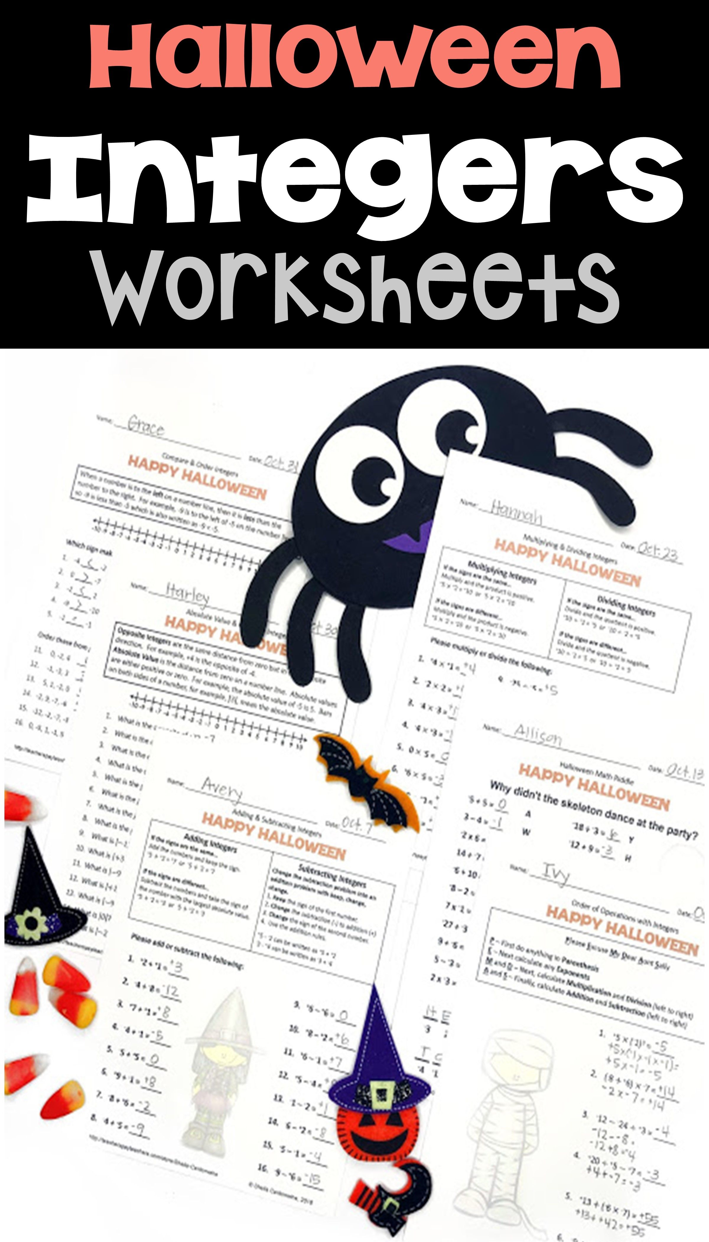 Halloween Integers Worksheets