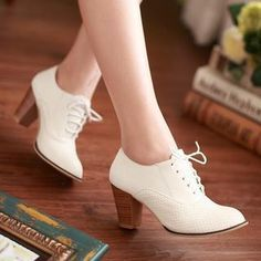 Buy Colorful Shoes Perforated Oxford Pumps 4d7058d1f4b46