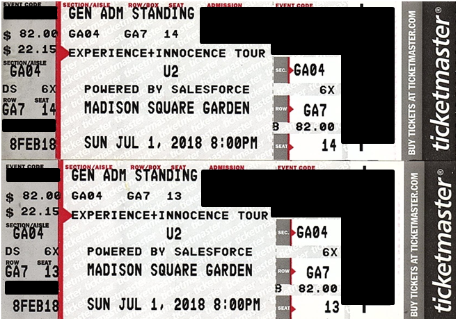 Superb #tickets 2 GA Floor Tickets U2 Madison Square Garden NY July 1 Hard Tickets  Ready