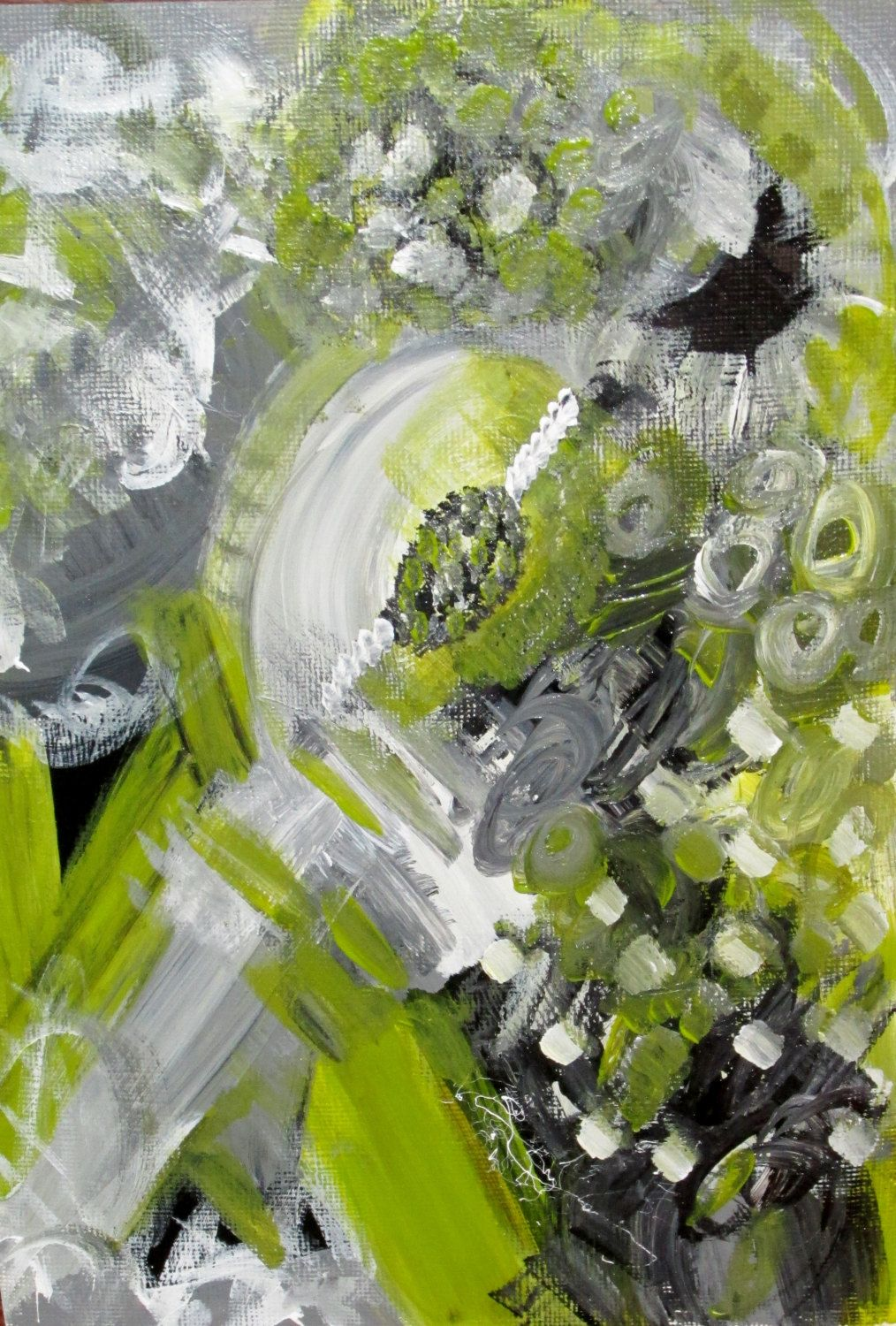 Painting With Gray original abstract painting with gray, lime green, black, and white