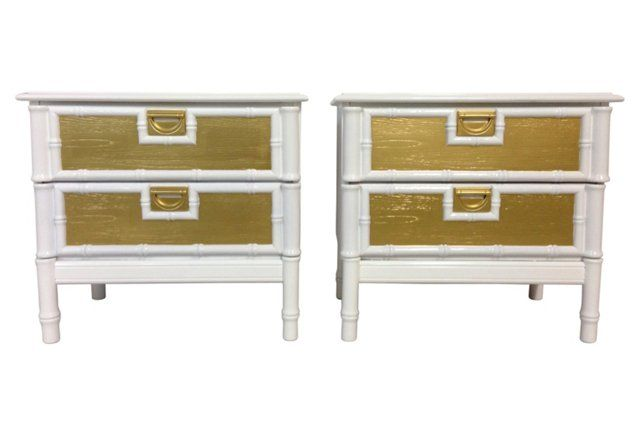 White Gold Nightstands Pair Gold Nightstand Vintage Decor