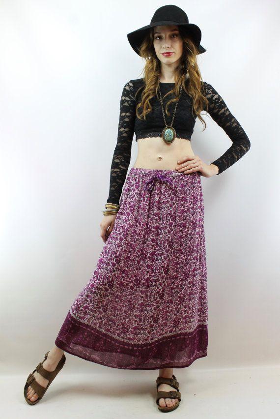 a5f0a5169a1 Vintage 90s Floral Gauze Indian Skirt XL 1X Festival Skirt Hippie ...