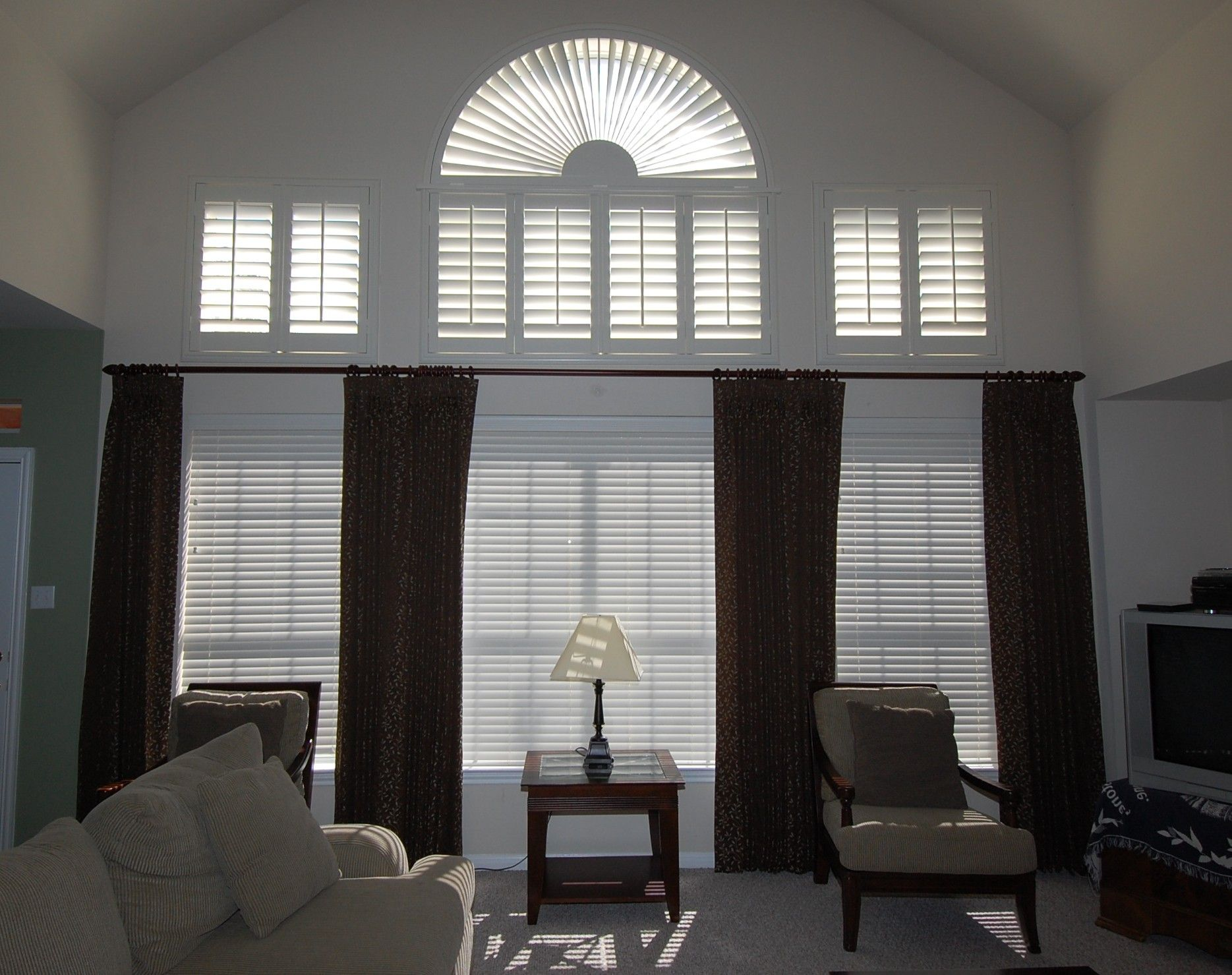 Drape ideas tall windows window with a rod placed for Blinds for tall windows