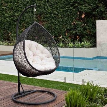 Hanging Egg Chair   Outdoor Rattan Wicker   Black   Contemporary   Hammocks  And Swing Chairs   Milan Direct
