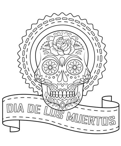 Dia De Los Muertos Sugar Skull coloring page from Day of