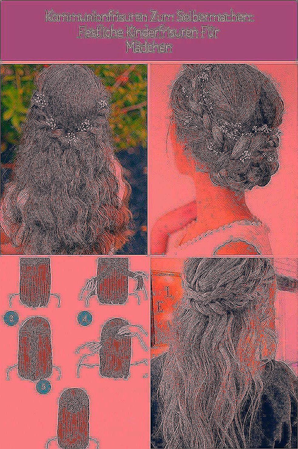 Kommunionfrisuren Kinderfrisuren Mädchen halboffene Haare Blumen #frisuren abib…