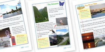 World Rivers Fact Sheets - world rivers, fact sheet, river, world ...