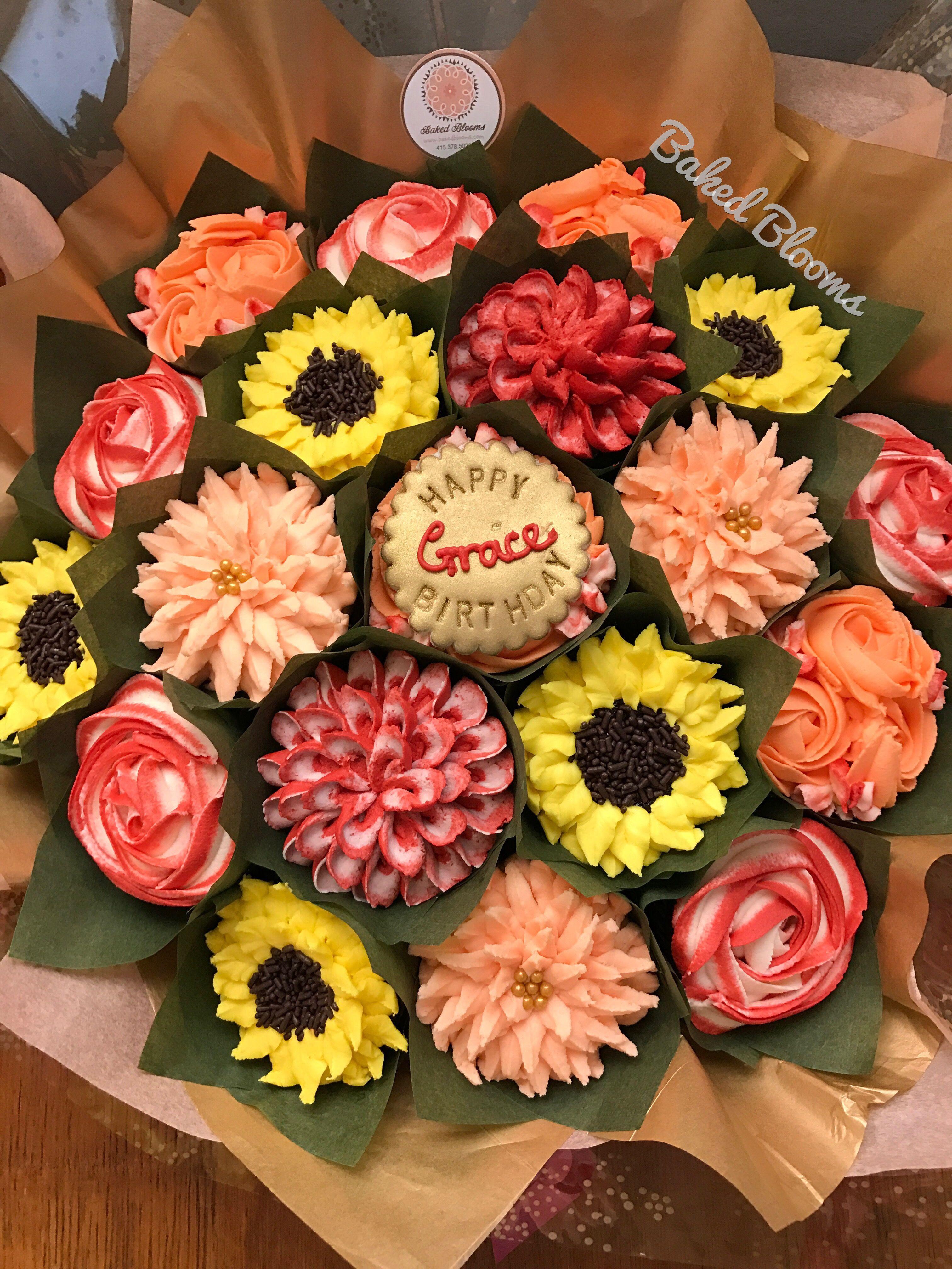 Fall birthday bouquet Cupcake