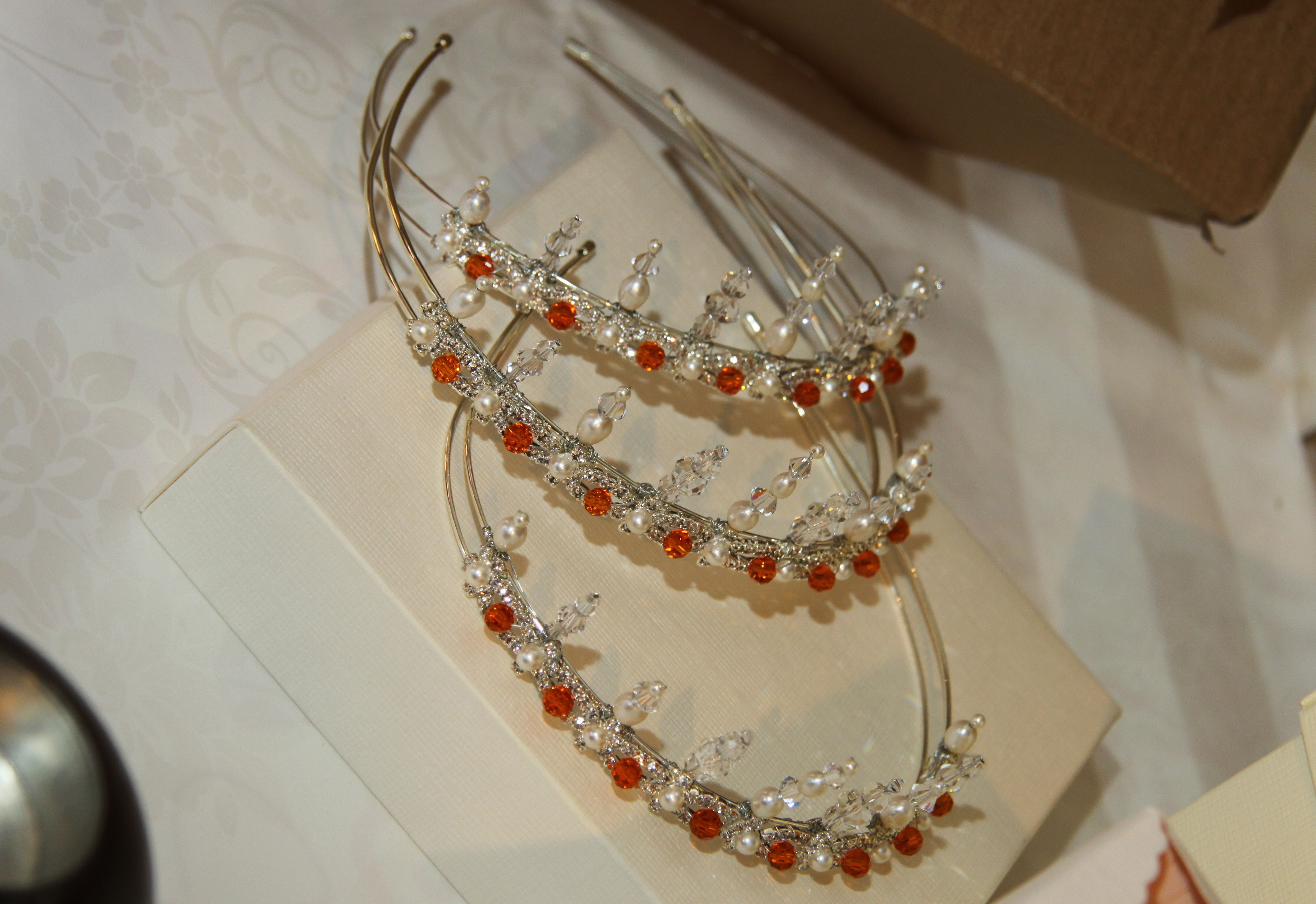 Pearl and orange crystal tiara